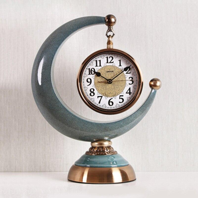 1 pièces horloge créative européenne salon hôtel bureau bureau horloge décorations pour la maison horloge Quartz silencieuse cadran numérique romain - 2