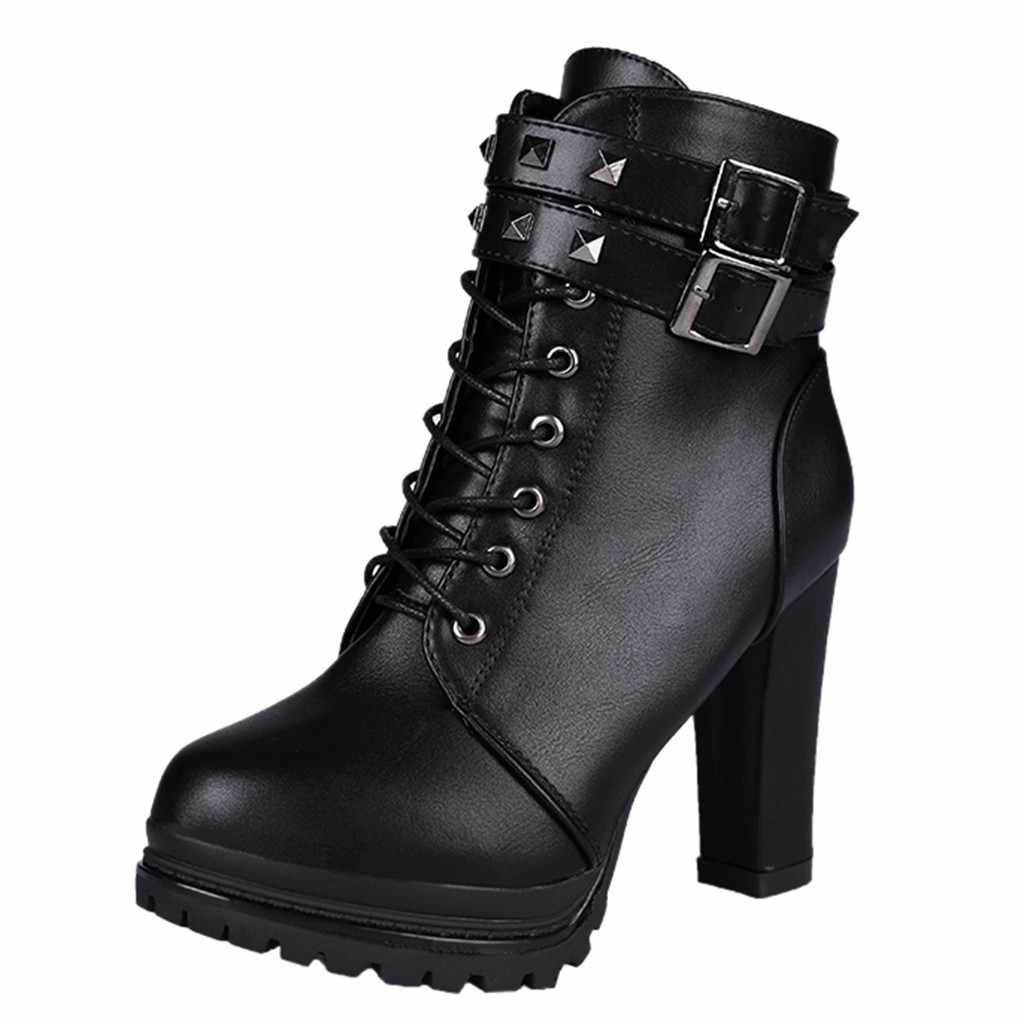 Moda kadın Retro perçinler topuk çizmeler kare topuklu fermuar düz renk kısa çizmeler toka kayış yuvarlak ayak ayakkabı kadın botas mujer