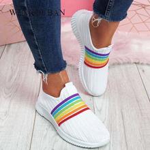2020 kobieta buty wulkanizowane trampki damskie wygodne wsuwane skarpety buty damskie Sneaker oddychające buty do chodzenia Tenis Feminino tanie tanio WENKOUBAN Mesh (air mesh) light Stałe Dla dorosłych Wiosna jesień Mieszkanie (≤1cm) Slip-on Pasuje prawda na wymiar weź swój normalny rozmiar