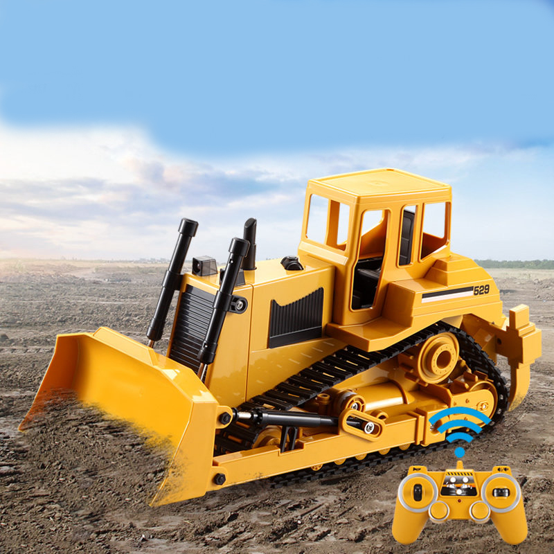 2.4G RC <font><b>Truck</b></font> Crawler Bulldozer 1:20 Caterpillar Tractor Crawler Excavator Electric Engineering Car With <font><b>Light</b></font> & Sound Car Toys image