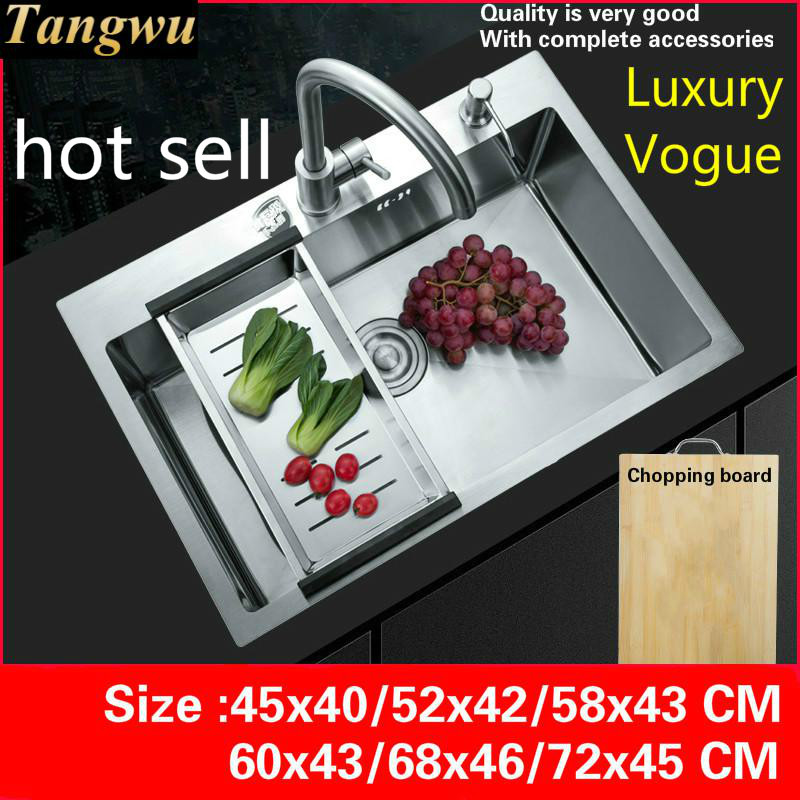 Free Shipping Standard Kitchen Manual Sink Single Trough 304 Stainless Steel Hot Sell  45x40/52x42/58x43/60x43/68x46/72x45 CM