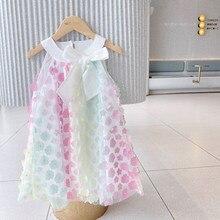 Meninas sem mangas verão 2021 novo bordado borboleta estilingue vestido das crianças ocidental-estilo fio líquido arco-íris vestidos de princesa