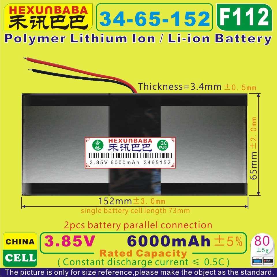[F112] 3.85v, 3.8v, bateria de polímero de lítio/íon de lítio, 3.7v 6000mah [3465152] para tablet pc, banco de energia, celular telefone celular