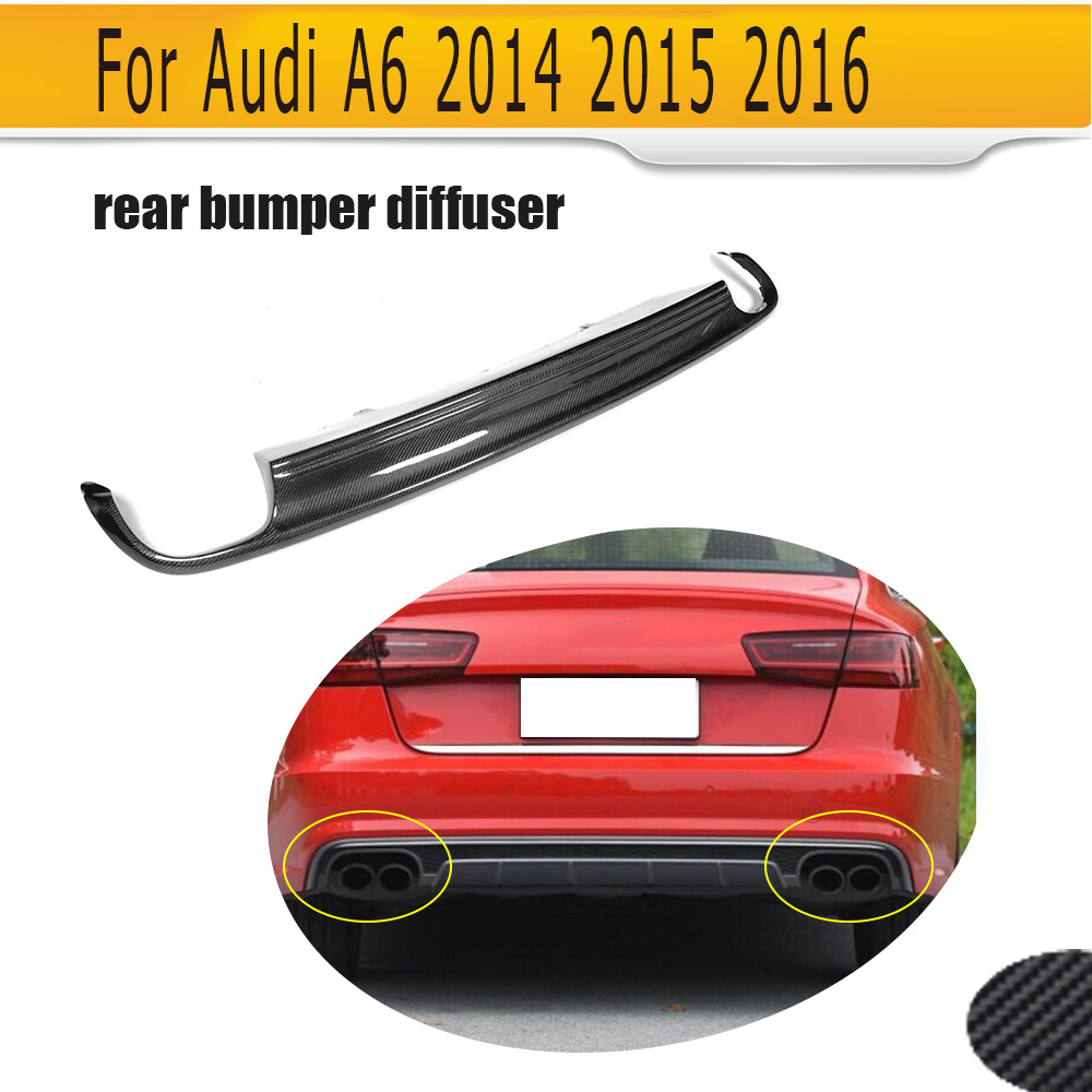 Carbon Fiber Car <font><b>Rear</b></font> Bumper <font><b>Diffuser</b></font> Lip with Exhaust for <font><b>Audi</b></font> A6 Standard Sedan 4 Door Only 2013-2015 Non S-line <font><b>S6</b></font> image
