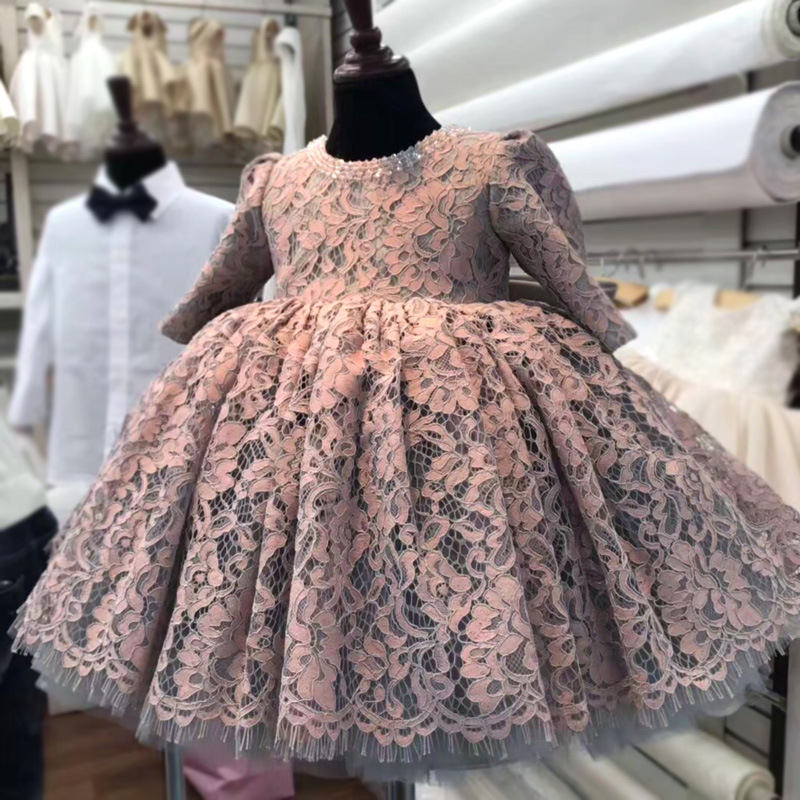 Flower Girl's Birthday Party Baptist Dinner Dress Baby Girl's Opening Ceremony Banquet Lace Dress