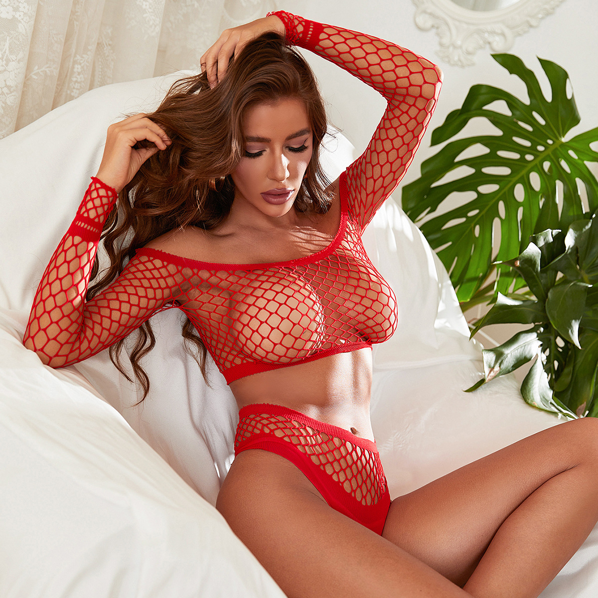 Porno Clothes Exotic Lingerie Set Fishnet Hollow Out Long Sleeve Bra Thong Set Women Sexy Panties Underwear Erotic Lingerie Set