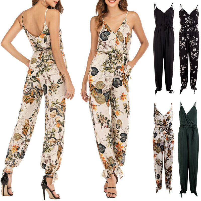 New Fashion Women Ladies Clubwear Summer Printed Playsuit Bodycon Party Jumpsuit Romper Trousers Casual Loose Floral Jumpsuits