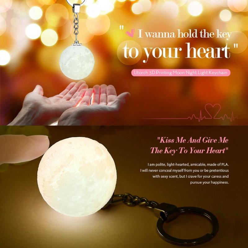 3D Print Moon Lamp Keychain Colorfuls Change Football Led Light Glow Portable Hanging Night Light Bedroom Decor Creative Gifts