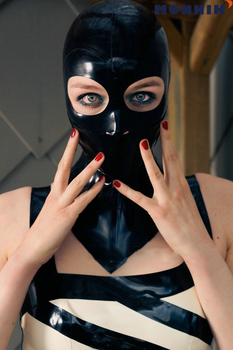 MONNIK latexCustomized Latex Head Cover Latex Mask Mask Opening Nose Opening Eye Latex Neck Sleeve Latex mask