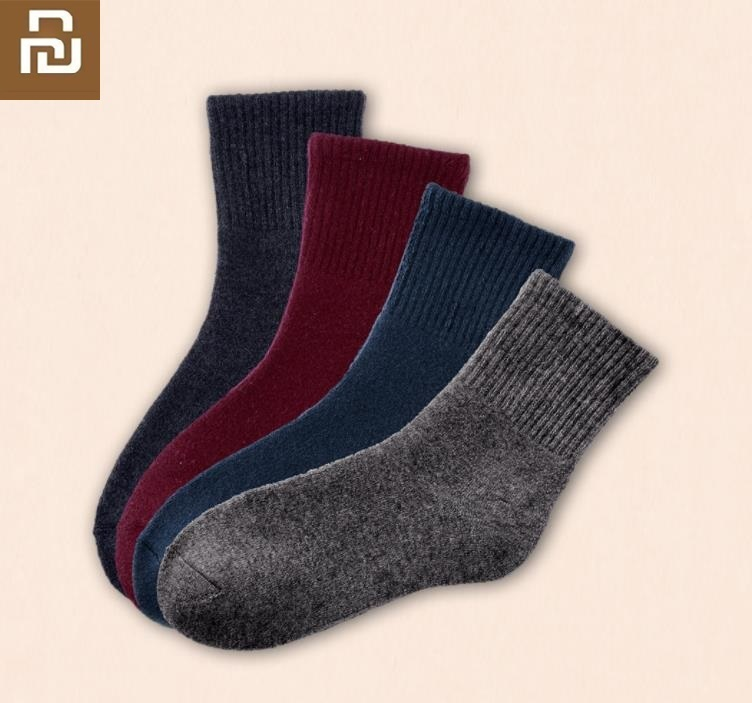 Youpin 3 Pairs Men Middle Tube Winter Wool Blend Warm Socks Thick Warm Comfortable Moderate Elasticity