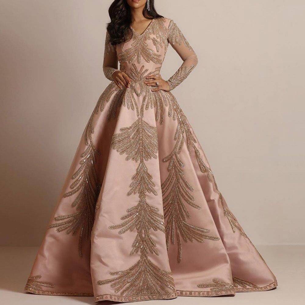 Dressv Evening Dresses Long Woman Party Night Golden Embroidery V-Neck Draped Gown 2020 Vintage Long Sleeve Graduation Dresses