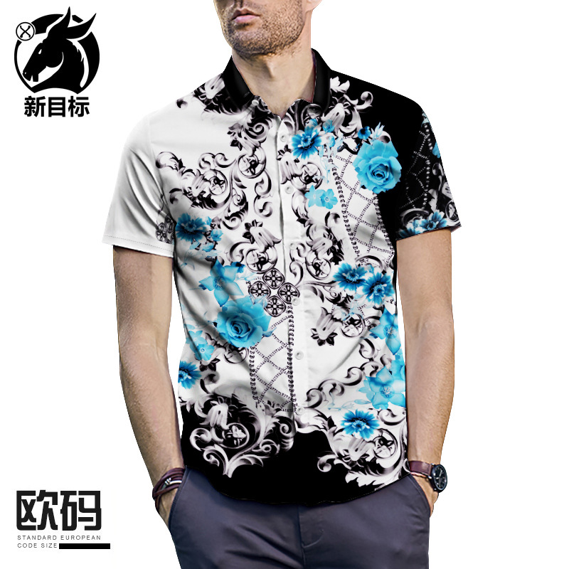 Classical Flower Print Shirt Short Sleeve Europe And America Palace Shirt Large Size Summer Men'S Wear New Style Tops Cross Bord
