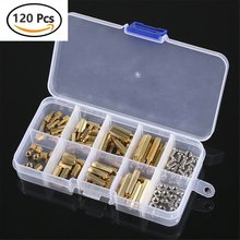 120Pcs M3 Brass Standoff Spacer PCB Board Hex Screws Nut Assortment Kit Female-Female Spacers Male-Female Spacers 260pcs m2 pcb threaded brass male female standoff spacer board hex screws nut assortment box kit set with plastic box hollow