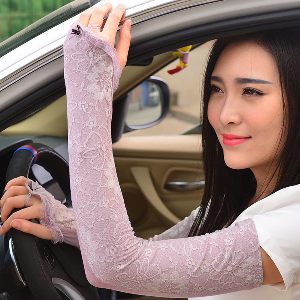 Summer Ice Silk Half Finger Sunscreen Thin Gloves Female Long Lace Cotton Tram Driving Sunscreen Sleeve