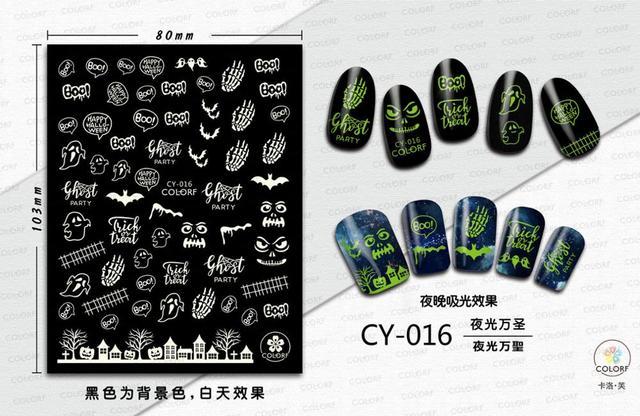 morixi стикер для дизайна ногтей светящийся хэллоуин серии светится фотография