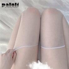 Paloli 1 par preto meias de seda feminina lingerie sexy ultra sobre o joelho fina coxa transparente alta elástica meias longas