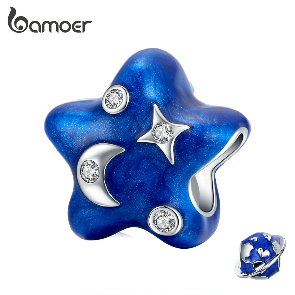 Bamoer Genuine 925 Sterling Silver Moon & Star Enamel Charm Deep Blue Sky Metal Beads Charm For Original Bracelet BSC178