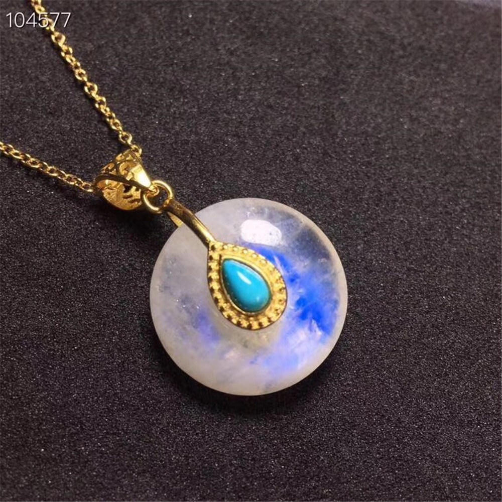 Natural Moonstone Peace Buckle Pendant With Turquoise Beads 16x6mm Woman Blue Light Crystal Gold Chain Pendant Necklace AAAAA