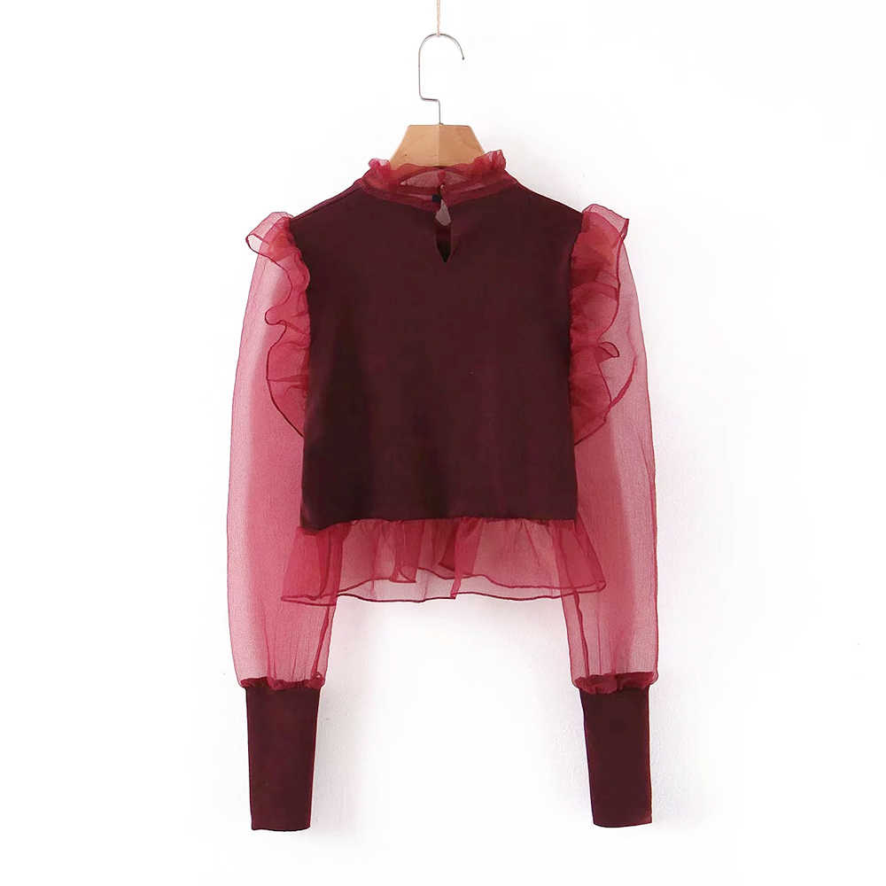 Women Retro Organza Patchwork Knitted Blouses See Through Long Puff Sleeve Shirts Office Wear Stylish Ruffles Short Tops Blusas