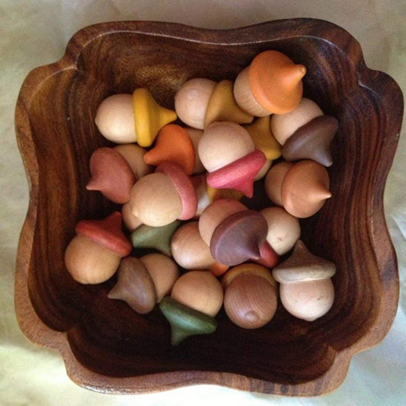 10Pcs Unfinished Wooden Acorns Peg Ornament
