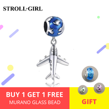 StrollGirl 100% 925 Sterling Silver Original Cute The Earth and Plane Beads Fit Authentic Pandora Brace Jewelry Making Gifts Hot