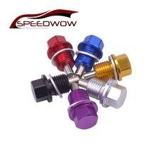 Tuerca del colector del aceite magnético SPEEDWOW M14 * 1,5, aceite de drenaje con cabezal para tornillos, tapón de aceite magnético JDM para Ford Honda, envío gratis