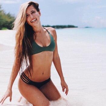 Women Swimming Trunks Sexy Weave Swimsuit Bandage Bikini Swimwear Braided Suit Swim Trunks Low Waist Solid Beach Bikini Trunks