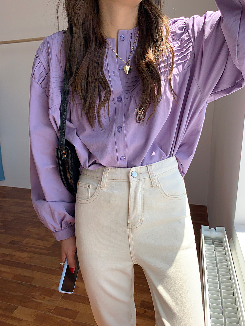 H0da5e42078ed4df5b739816677149af52 - Spring / Autumn Korean O-Neck Long Sleeves Pleated Solid Buttons Blouse