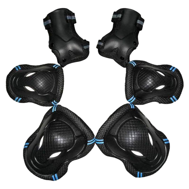 cotovelo pulso almofada protetora conjunto preto + azul