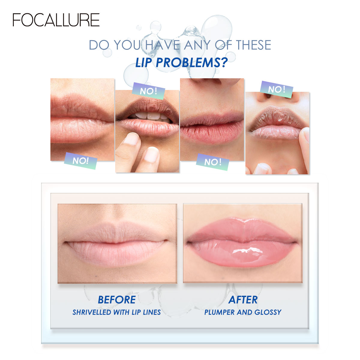 Focallure Clear Plumper Moisturizing Lip Gloss Non-sticky Enrich With Lip Care Makeup Lipglossy