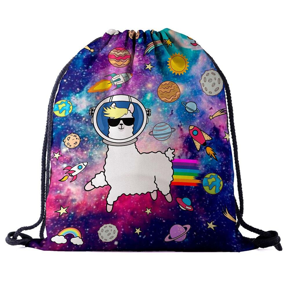 Drawstring Backpack Bag 3D Printing Alpaca Women Men Daily Casual Girl's Mochila Knapsack Feminina Bundle Pocket Rope Bags New