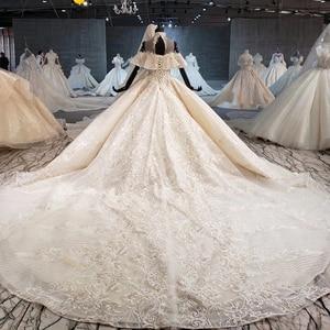Image 2 - HTL1083 الكرة ثوب الزفاف الفاخرة الكريستال عالية الرقبة قبالة الكتف العروس روب للنوم حجم كبير جديد vestidos دي نوفيا 2020