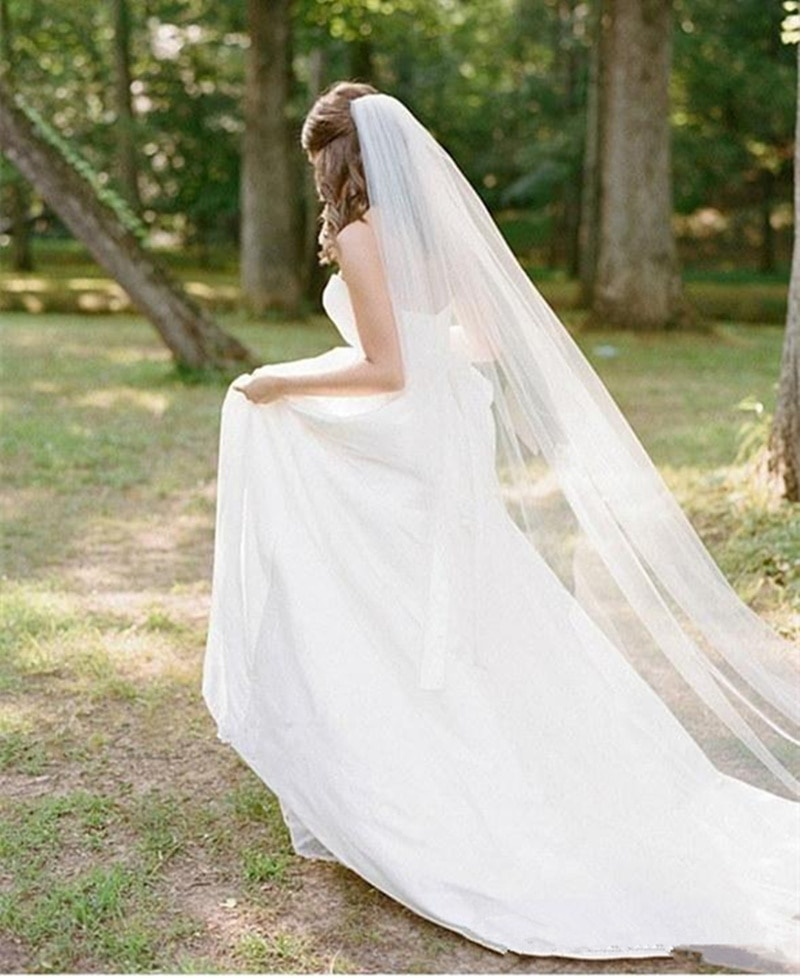 White Ivory 0.75m/2m/3m/5m Length One Layer Veil For Bride Wedding Bridal Long Veil Cathedral With Comb Bride Veils