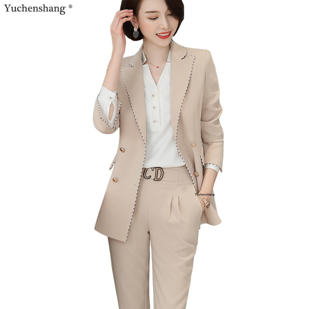 Fashion Women Pants Suits Plus Size 5XL Business Interview Work Wear Office Ladies Long Sleeve Formal Blazer And Pants Set