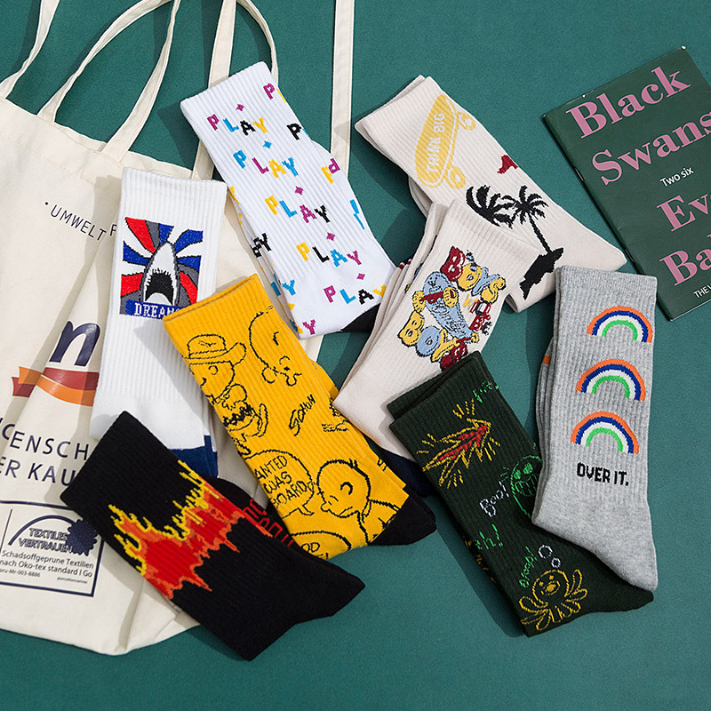 Style Fashion Harajuku Street Hip Hop Socks Unisex Fun Men's Socks Happy Skateboard Chinese Character Letter Ladies Socks Korean