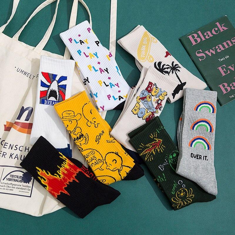 Style Fashion Harajuku Street Hip Hop Socks Unisex Fun Men's Socks Happy Skateboard Chinese Character Letter Ladies Socks Korean