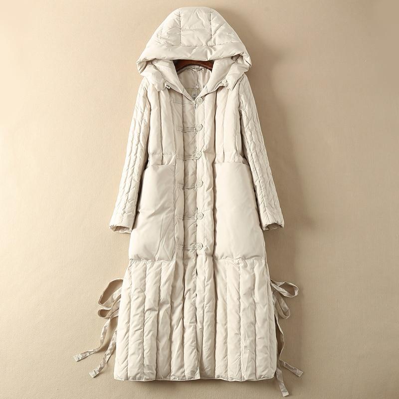 White Goose Down Jacket Women Hooded Long Down Coat Winter Autumn Puffer Womens Down Jackets Doudoune Femme Hiver KJ3602
