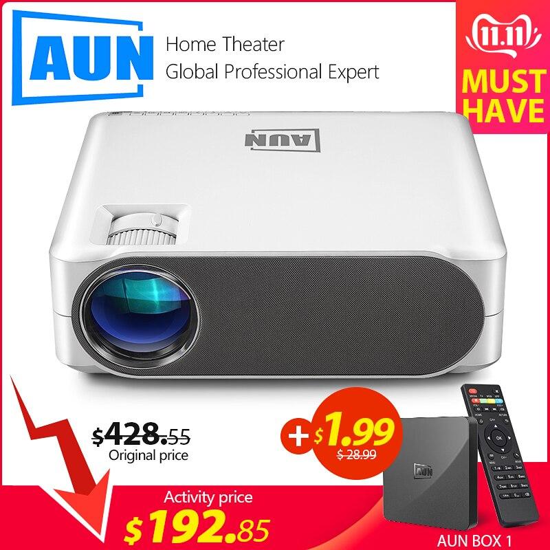 AUN projecteur Full HD AKEY6S, 1920x1080 P, Android WIFI 3D vidéoprojecteur, MINI projecteur LED pour Home Cinema 4 K. (Optionnel AKEY6)