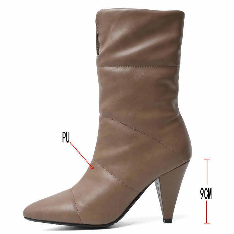 Yüksek topuk orta buzağı çizmeler kadınlar için sivri burun sıcak kış kar botları bayanlar siyah beyaz kahverengi yarım çizmeler 2020