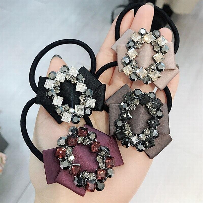 Korean Fashion Simple Fabric Bow Tie Rhinestone Crystal Rubber Elastic Hair Bands Girl Women Ponytail Holder Hair Accessories