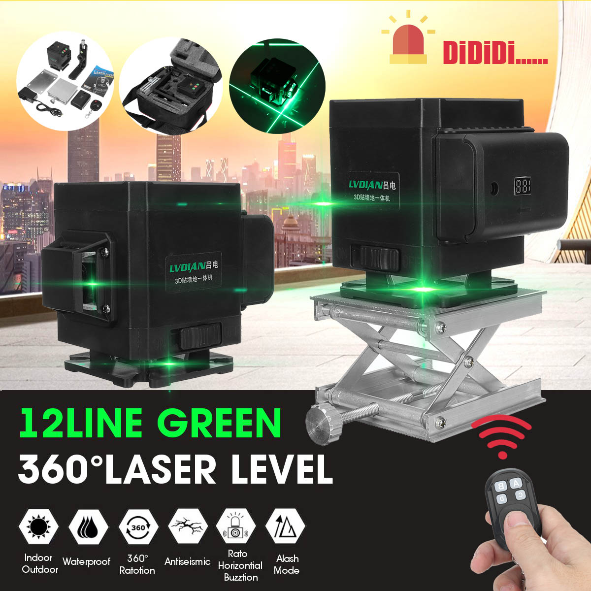 Laser Level 12 Lines 4D Self-Leveling 360 Horizontal And Vertical Cross Super Powerful Green Laser Beam Line