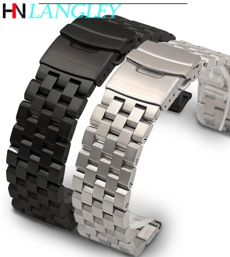 Ремешок для часов LANGLEY из нержавеющей стали, твердый премиум-браслет для наручных часов, 18 мм 20 мм 22 мм 24 мм 26 мм