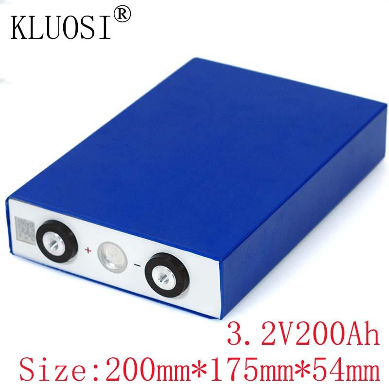 KLUOSI 3.2V 200Ah batterie LiFePO4 Lithium fer Phospha grande capacité 200000mAh pour moto électrique voiture moteur Batteries