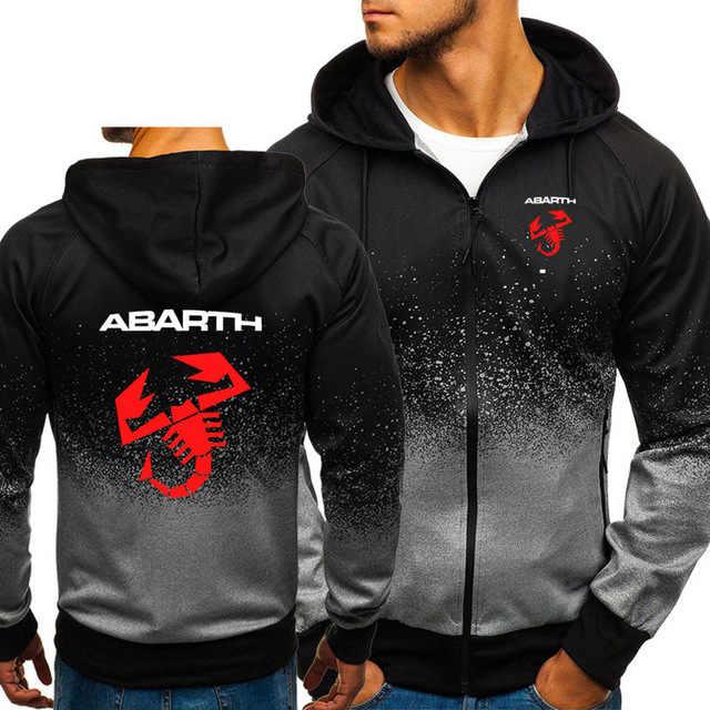 Hoodies Mannen Abarth Auto Logo Print Casual Hiphop Harajuku Gradiënt Kleur Hooded Fleece Sweatshirts Rits Jas Man Kleding Q