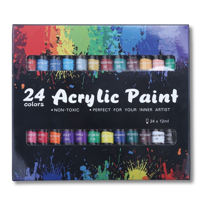 Acrylic Paint Set 24 Color 12ml Pigment for Kids Adults Beginner Profess Artists