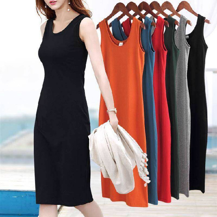 S-3XL 5Colors Big Size Sexy Sleeveless Slim Body-con Basic Dresses Tanks Vest ladies Dress Strap Solid Party Dress Summer
