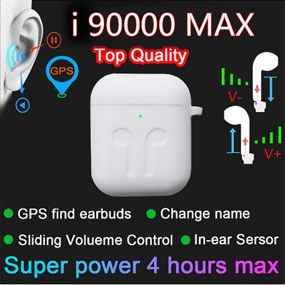 Оригинальные беспроводные наушники i90000 MAX, TWS, Bluetooth 5,0, беспроводная гарнитура 8D, контроль громкости, PK i5000 i90000 Pro, TWS, 1:1