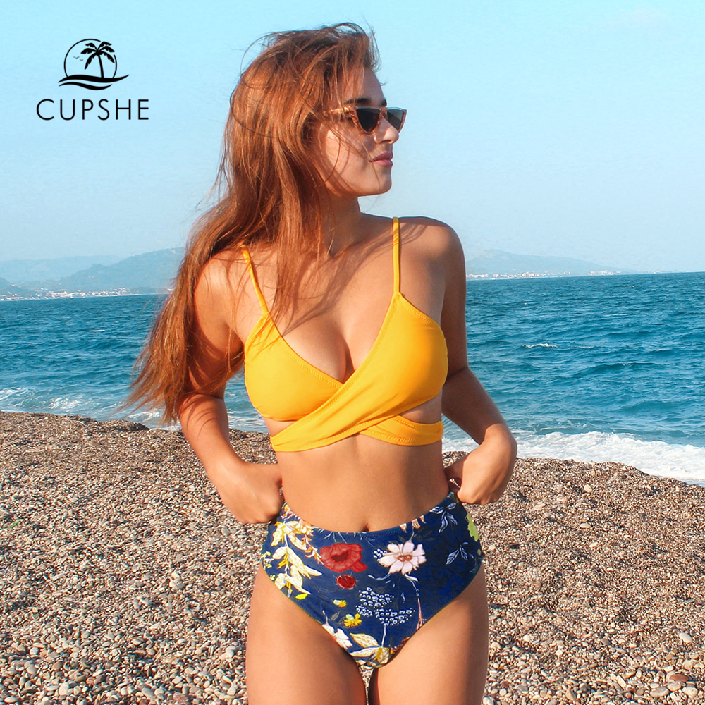 CUPSHE Yellow Front Wrap And Floral Bikini Sets Sexy High-waisted Swimsuit Two Pieces Swimwear Women 2020 Beach Bathing Suits