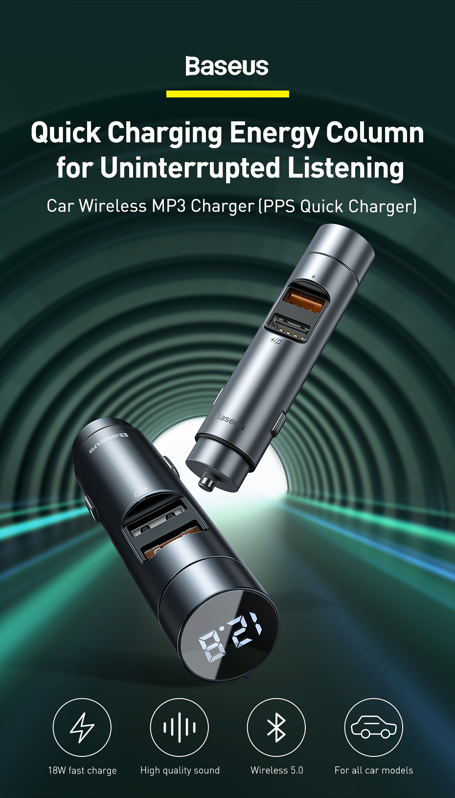 Baseus 18W Car Charger with MP3 Player