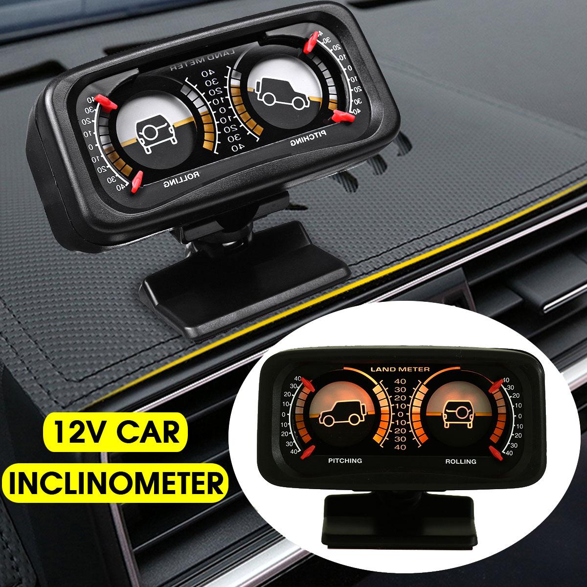 12V Car Angle Tilt Two-barreled Backlight Inclinometer For Compass Balance Level Slope Meter Gauge